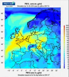 Prévision pour demain. En jaune, les zones polluées. (Prev'air)